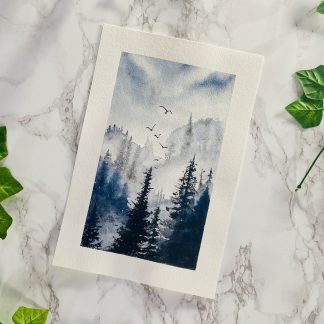 Misty Mountain Forest Watercolor